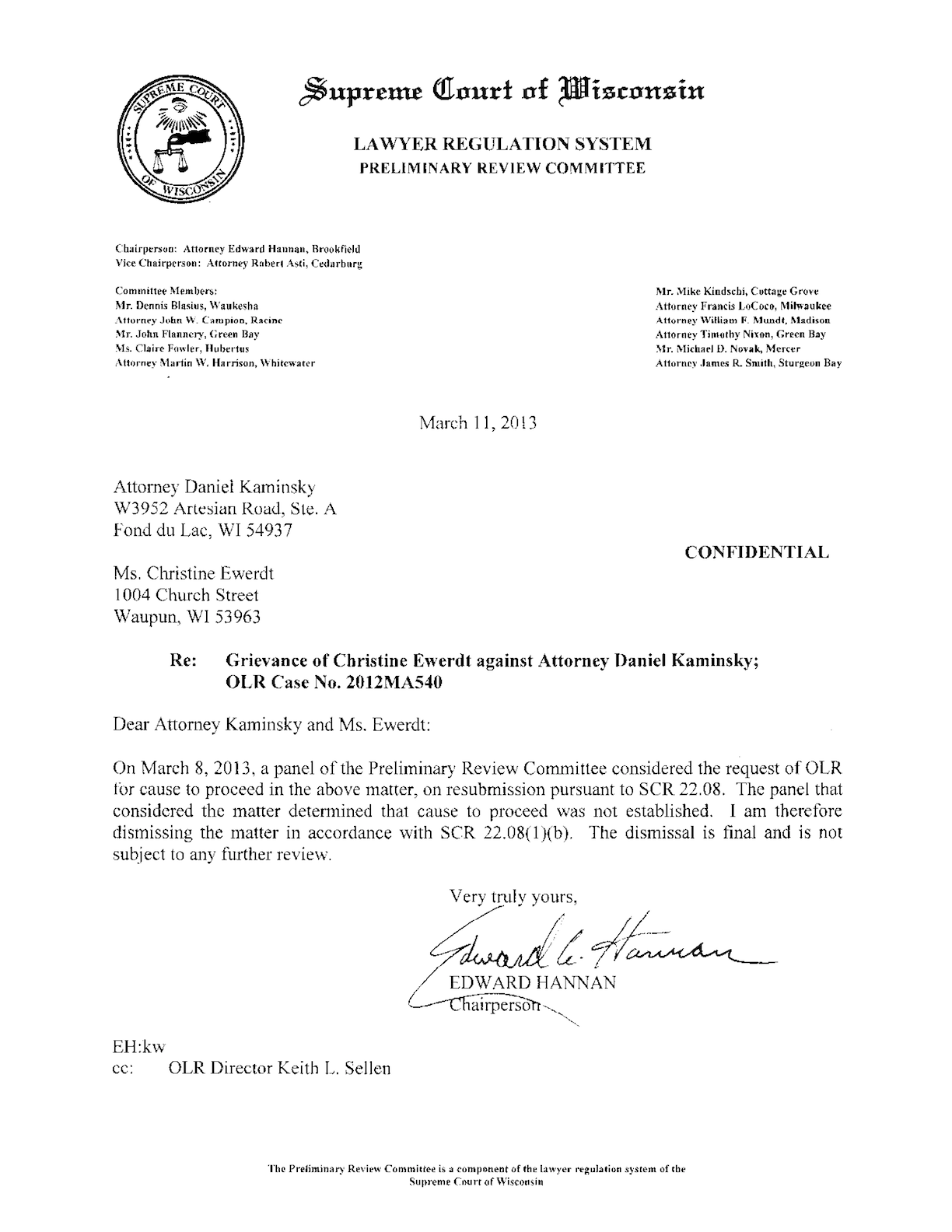 The airplane case against DA formally dismissed.